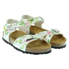 Monnalisa Girl's Floral Print Sandals with Silver Buckle. Available now at www.chocolateclothing.co.uk #childrenswear #minifashion #Monnalisa #chocolateclothing
