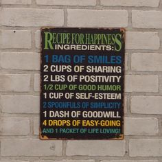 #Recipe #For #Happiness #Wall #Sign