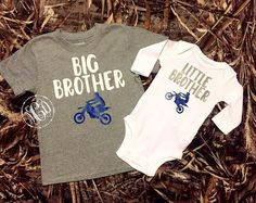 Big Brother / Little Brother Matching Shirts - Matching Dirt Bike Shirts - Baby Announcement - Brothers