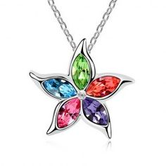 $2.24 Fashion Colorful Rhinestoned Flower Pendant Necklace For Women