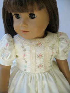 Reserved - American Girl Doll Clothes Ivory Satin Batiste Embroidered Dress $175, MyAngieGirl via Etsy