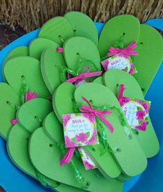 Flip flop favors at a Hawaiian luau birthday party! See more party planning ideas at CatchMyParty.com!