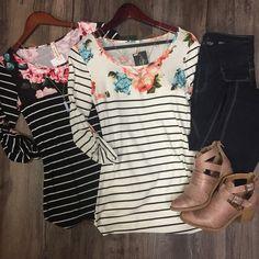 3/4 Sleeve Striped Shirt w/Floral Neckline  stitch fix ideas Outfit Inspiration Spring 2017