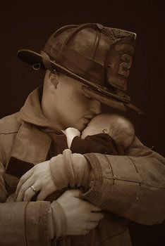 A firefighter and his baby