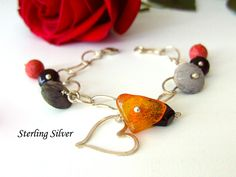Items similar to Sterling Silver chain bracelet, Genuine Corals, Agate, Black Onyx and Natural Honey Amber. Sterling Silver Heart Bracelet, on Etsy Handmade Bracelets, Handmade Gifts, Natural Honey, Corals, Heart Bracelet, Black Onyx, Sterling Silver Chains, Agate, Amber