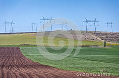 Photo about Crop field various colors with high voltage electric power lines. Image of conservation, electric, electricity - 31750958 Crop Field, High Voltage, Electric Power, Agriculture, Conservation, Landscapes, Stock Photos, Colors, Green