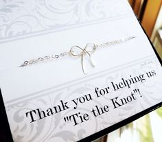 Bridesmaid gifts, silver bow NECKLACE and bridesmaid thank you card, Tie the Knot necklace, bridesmaid jewelry for weddings