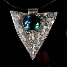 Sterling silver, Green/Blue Ametrine Aztec Pendant | by Oblivion Jewellery