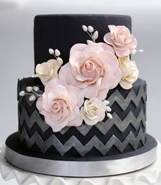 Dark gray chevron cake with roses - so pretty and different! | pink and grey wedding | pink and gray