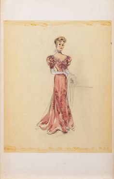 """Edith Head costume sketch for Joan Fontaine in """"Darling How Could You?"""" (Paramount, 1951).  Gouache, pencil and ink on transparency sheet attached to artist's illustration board.  
