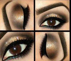 Eye makeup - #eyes #goldmakeup #makeup #eyeshadow #bronzeshadow #smokeybronze - bellashoot.com