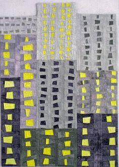 City Lights by Norma Schlager, fiber artist.  Blue ribbon winner, Gray Plus One challenge.