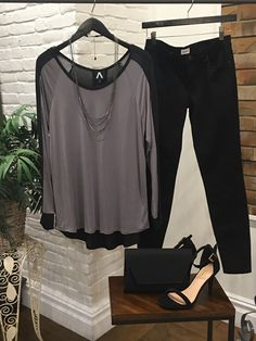 A great outfit for a Friday night out with that special someone or group of girls. $63 shirt $48 jeans #ShopALB #ApricotLaneTS