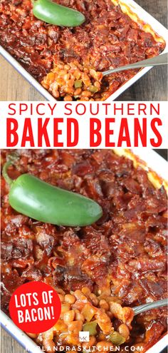 No piddling bacon recipe here! There is an entire LAYER of chunks of bacon on top of these baked beans! Some jalapeno adds a bit of heat taking this southern classic up a bit. This is an easy semi-homemade recipe. Make these baked beans for a cookout side dish at your next BBQ or just to use up those cans of pork and beans sitting on your shelf! #bbq #grilling #sidedish #easy #beans #southernfood Southern Baked Beans, Best Baked Beans, Homemade Baked Beans, Baked Bean Recipes, Spicy Recipes, Spicy Baked Beans Recipe, Cookout Side Dishes, Side Dishes Easy, Vegetable Side Dishes