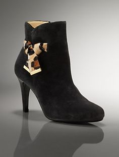Suede animal bow ankle boot