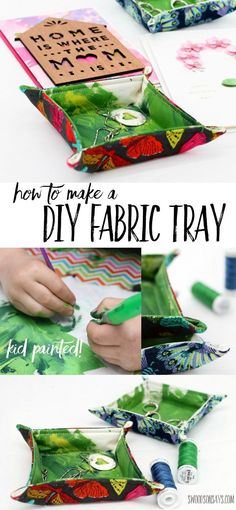 How To Make a Fabric Tray - let your kids join in and paint fabric to make a gift for Mother's Day! Fabric trinket trays are a great beginner sewing project that uses up fabric scraps. Pair it with a beautiful Hallmark Signature card from @Walmart for the best Mother's Day gift! #ad #hallmarkformom #socialfabric