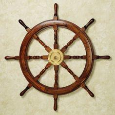 Wooden Ship Wheel Wall Art Natural Cherry