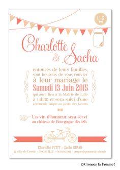 faire part collection mariage champtre chic de croquez la pomme corail et kraft - Texte Faire Part Mariage Champetre