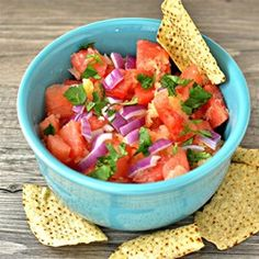 "Watermelon and Pineapple Salsa | ""I would have never thought that hot sauce would taste so good on watermelon and pineapple. Keep extra hot sauce on the side. This is a keeper."""
