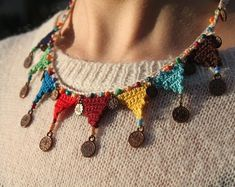 Colorful Authentic Crochet Necklace with Figure and Beads Crochet Jewelry Custom Made Gift For Her Mothers Day Gift Unique Accessory Bead Crochet, Crochet Crafts, Crochet Necklace, Textile Jewelry, Fabric Jewelry, Jewellery, Opal Jewelry, Jewelry Bracelets, Necklaces