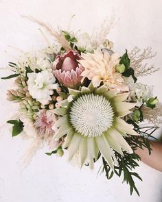 Blush and white king protea bouquet for a desert bride. Honey and Poppies. www.honeyandpoppies.com