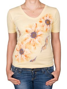 Yellow color hand-painted cotton ladies TShirt with flowers in orange, white and purple. Hand-painted with permanent water resistant non-toxic