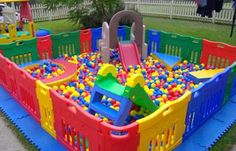 DIY- can use with the northgate supergate play yard, ball pit balls and baby slide Toddler Activities, Activities For Kids, Crafts For Kids, First Birthday Activities, 1st Birthday Party Games, Party Fun, Birthday Ideas, Party Ideas, Gift Ideas