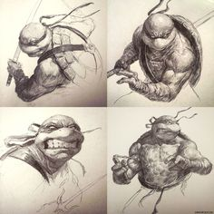 Creatures from Dreams — TMNT Sketch Collection! by DavidRapozaArt —x—. Ninja Turtles Art, Teenage Mutant Ninja Turtles, Comic Books Art, Comic Art, Comic Character, Character Design, Tmnt, Art Drawings, Illustration Art