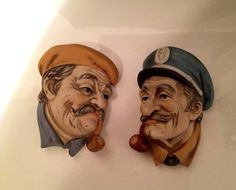 Two Ceramic wallhangings of Sea Captains by VintageLoveAntiques