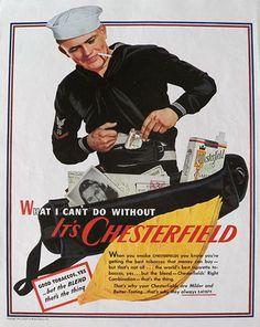 1943 Chesterfield Cigarettes Ad ~ Sailor