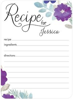 Don't like the layout but cute idea, send with shower invites fill with favorite recipe and make Bride her own cook book.