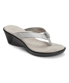 Love this Silver Metallic Wide Eyes Wedge Sandal by Aerosoles on