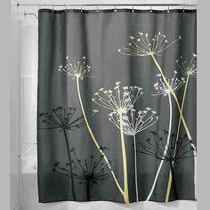 Interdesign Idesign X Thistle Fabric Shower Curtain In Grey/yellow College Dorm Bathroom, Dorm Room, Floral Shower Curtains, Grey Curtains, Shower Liner, Shower Curtain Hooks, Colorful Curtains, Shower Remodel, Grey Yellow