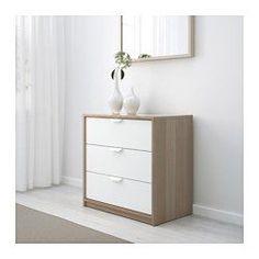 IKEA - ASKVOLL, Cómoda de 3 cajones, negro-marrón/blanco, , Los cajones, fáciles de abrir y cerrar, llevan topes.