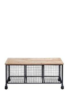 Metal Wood Bench with Basket