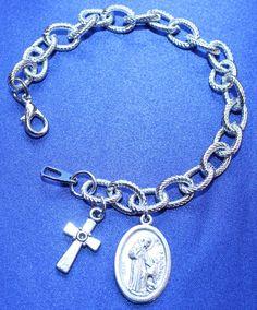 St Francis of Assisi Saint Medal Religious Charm Bracelet