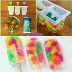 Homemade popcicles gummybears and sprite popcicles summer snack pop and candy easy desert idea