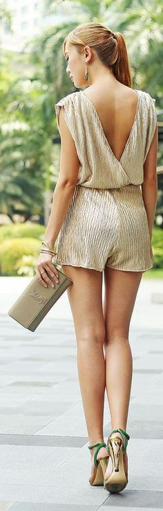 Gold Metallic Open Back Gorgeous Ropmer and Love Shoes