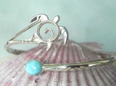 Sea Turtle Bracelet - Larimar Turtle Bracelet - Turtle Cuff - Unique Turtle Jewelry - Sterling Silver Blue Larimar Cuff - Ocean Inspired - To go with my new ring ;) #PackingSpree