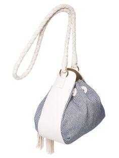 Bolsa Eva Saco Tecido - Maria Filó - Branco e Azul - Shop2gether