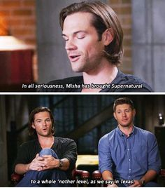"""I don't know what I like best. What Jared's saying, or Jensen's expression of """"It's TEXAS, not a foreign language."""""""
