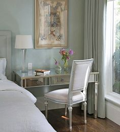 same color walls as my room...love the desk/vanity as night table idea