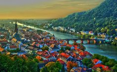 美しい ハイデルベルク、ドイツ 河川 自然 高解像度で壁紙