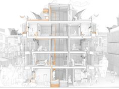 -The Best Architecture Drawings of 2017 Image 94 of 126 from gallery of The Best Architecture Drawings of © Alfonso Melero Beviá y Luis Ortiz Martínez See it Coupes Architecture, Architecture Cool, Architecture Graphics, Architecture Drawings, Landscape Architecture, Architecture Collage, Architecture Diagrams, Sectional Perspective, 2017 Image