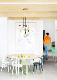 timber beams and concrete painted thonet bentwood chairs / est magazine Dining Room Design, Dining Area, Kitchen Dining, Dining Table, Dining Room Inspiration, Interior Inspiration, Style Inspiration, Mixed Dining Chairs, Bentwood Chairs