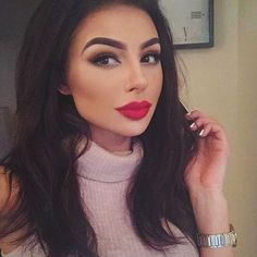 Instagram media amirasahraoui - For date night it's @hudabeauty lashes in Farah    My favourite high street red lippy right now is @lorealmakeup Paris colour riche exclusive reds in 'Blake'   Wearing L'oreal Paris True Match foundation  #makeup #beautybyamira #makeupforever #lips #hudabeauty #hudalashes #loreal