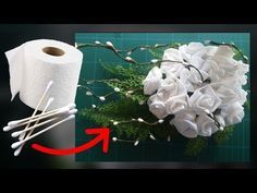 Cotton Buds and Toilet Paper Flower - Weihnachten Basteln: Weihnachtsengel basteln mit Papier – Weihnachtsdeko selber machen – DIY Or - Toilet Paper Flowers, Toilet Paper Crafts, Crepe Paper Flowers, Origami Flowers, Diy Flowers, Diy Paper, Flower Paper, Flower Diy, Tissue Flowers