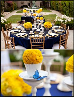 Love the butterfly detail on the cups! And love the dark blue table linen (very masculine) and then the white and yellow to soften it (feminine)