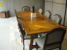 Spanish Parquetry Table - French Oak - 'Antique Oil' Finish - Louis Dining Chairs