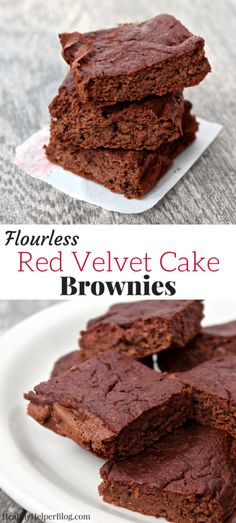 Red Velvet Cake Brownies [flourless + gluten-free] • Healthy Helper